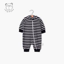 特贝尔秋装婴儿哈衣连帽爬服 新生儿时尚条纹纯棉连体衣长袖衣服7012D