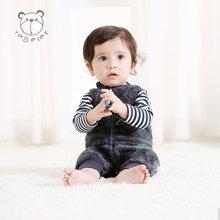 特贝尔新生儿衣服冬季新款保暖连体衣两件套长袖哈衣爬服婴儿衣服7010D