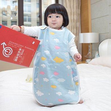 Marvelous Kids 寶寶背心透氣防踢空調被嬰兒6層全棉紗布睡袋蘑菇睡袋