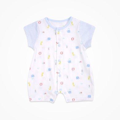 丑丑婴幼 新生儿前开短哈衣爬服 夏季新款婴儿纯棉卡通连体衣