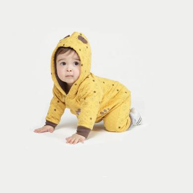丑丑嬰幼 男寶寶斜開夾絲哈衣秋冬男童夾絲棉保暖卡通哈衣、爬服、連體衣