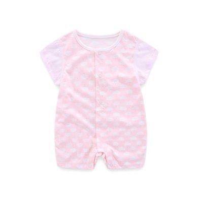 丑丑嬰幼 新生兒卡通前開哈衣夏季男女寶寶純棉短哈衣、爬服、連體CJD002X
