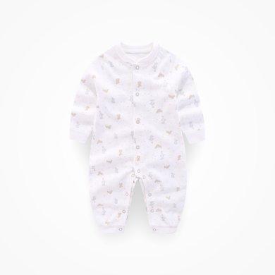 丑丑嬰幼 新生兒前開哈衣男女寶寶新款長袖純棉連體衣爬服0-1歲半CKD053X