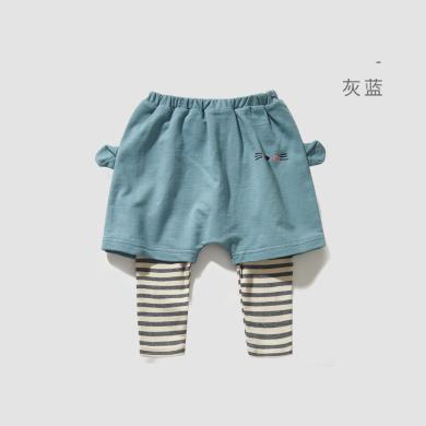 威爾貝魯男女童假兩件造型款幼兒褲子