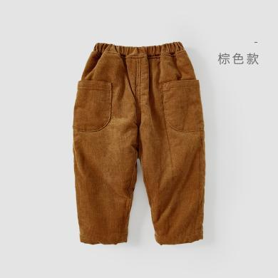 威尔贝?#22478;?#20908;宝宝裤子灯芯绒夹棉长裤
