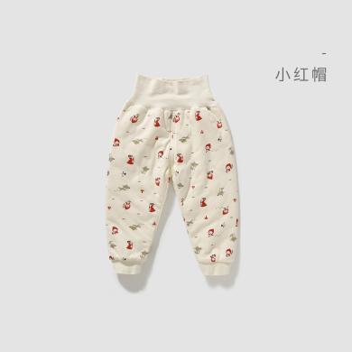 威爾貝魯秋冬寶寶褲子棉毛布夾棉高腰護肚褲