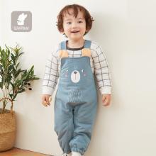 威爾貝魯秋冬寶寶褲子魚鱗布夾棉卡通造型背帶褲