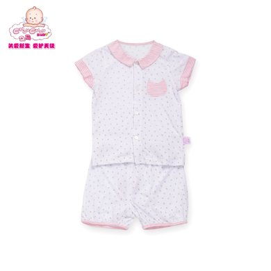 丑丑嬰幼 夏季新款男女寶寶純棉翻領前開內衣家居服短袖套裝