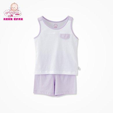 丑丑婴幼 新款男女宝宝家居服 短背心套装 6个月-4岁