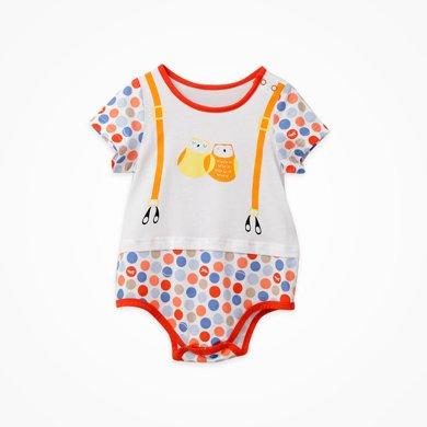 丑丑嬰幼新生兒三角哈衣爬服夏季新款男女寶寶圓點時尚連體哈衣