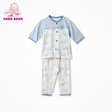 丑丑婴幼 男女宝宝前开中袖套装夏季新款男女童纯棉内衣家居服套装 CFD710X