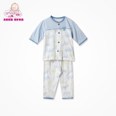 丑丑嬰幼 男女寶寶前開中袖套裝夏季新款男女童純棉內衣家居服套裝 CFD710X