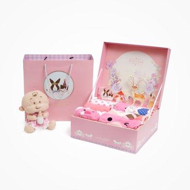 丑丑婴幼 夏季女宝宝可爱卡通图案T恤婴幼儿礼盒套装