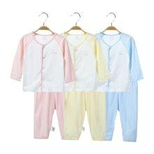 【Cottonshop棉店】夏季婴儿套装宝宝衣服春夏小童家居服撞色前开长袖套装