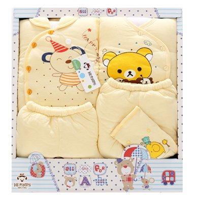 班杰威爾秋冬5件套加厚嬰兒禮盒純棉新生兒內衣送定型枕初生寶寶套裝