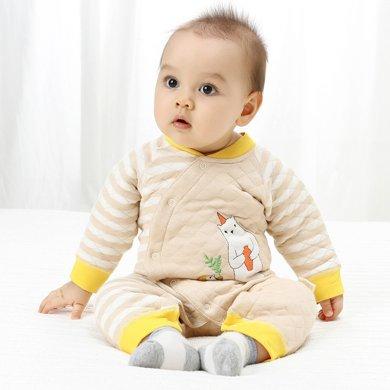班杰威爾嬰兒連體衣秋冬季裝保暖男女寶寶長袖彩棉哈衣爬服新生兒衣服