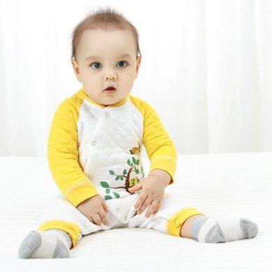 班杰威爾新生兒衣服純棉連體衣寶寶保暖內衣加厚嬰兒爬爬服哈衣