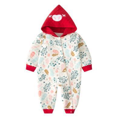班杰威爾嬰兒冬裝新生兒連體衣服男女寶寶外出抱衣秋冬季套裝加厚保暖哈衣