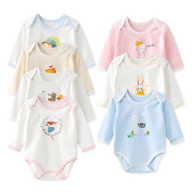 班杰威爾純棉嬰兒連體包臀哈衣新生兒長袖護肚三角包屁衣服