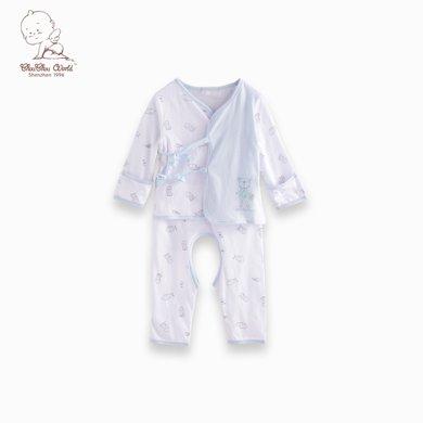 丑丑嬰幼 夏季新款 男女寶寶 純棉綁帶開檔套裝0-12個月 CBJ7002