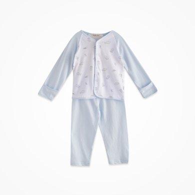 丑丑嬰幼 男女寶寶純棉前開套裝四季男女童長袖家居服套裝 3個月-2歲 CBJ7005