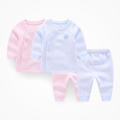 丑丑嬰幼 新款男女寶寶保暖側開套裝嬰童卡通長袖套裝 3個月-3歲CKD765X