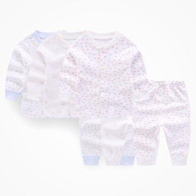 丑丑嬰幼 新款男女寶寶前開套裝嬰幼純棉長袖家居服套裝 0-3歲