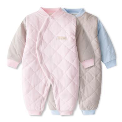 班杰威尔婴儿连体衣宝宝秋冬季加厚保暖纯棉衣服新生儿长袖哈衣纯色爬爬服