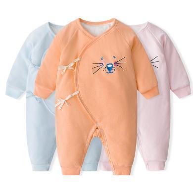 班杰威尔冬装加厚婴儿棉衣连体衣宝宝哈衣新生儿衣服秋冬季纯棉外出服