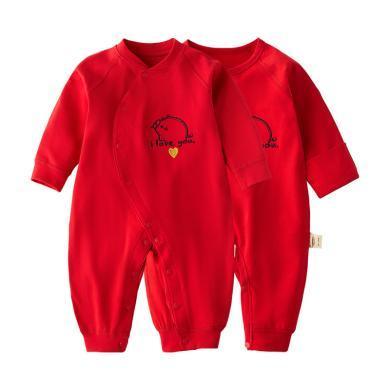 班杰威尔婴儿衣服春季红色连体衣节日喜庆哈衣