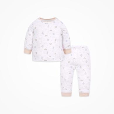 丑丑嬰幼 春季新款男女寶寶長袖肩開套裝針織純棉家居服套裝 1歲-5歲CMD703X