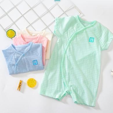 【2019新品】嬰兒短袖連體衣夏季薄款純棉寶寶哈衣睡衣新生嬰兒衣服夏裝