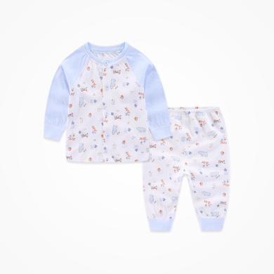 丑丑嬰幼 男女寶寶春秋新款前開圓領套裝純棉長袖內衣家居服套裝0-4歲CMD707X