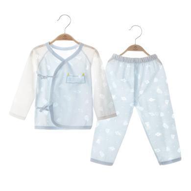 班杰威爾嬰兒長袖套裝夏季薄款男女新生寶寶長袖睡衣服分體兩件套