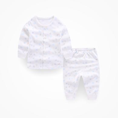 丑丑嬰幼 男女寶寶純棉前開套裝四季長袖內衣家居服套裝3個月-3歲 CMD752X