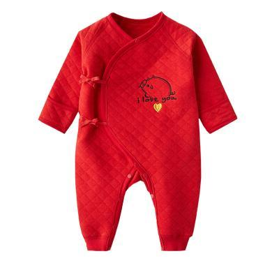 班杰威爾嬰兒衣服冬裝男女寶寶爬爬服新生兒秋冬季紅色連體衣新年喜慶哈衣