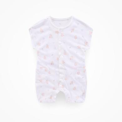 丑丑嬰幼 新款男女寶寶純棉前開短哈衣夏季嬰童短袖連體衣爬服3個月-1歲半 CLD008K