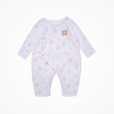 丑丑嬰幼 男女寶寶綁帶哈衣四季新款純棉新生兒綁帶連體衣爬服 0-6月 CLD007X
