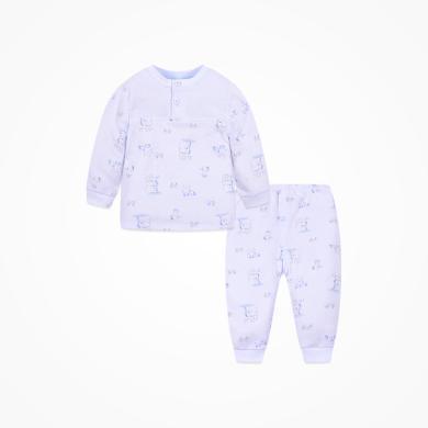 丑丑嬰幼 男女寶寶純棉前半開套裝四季男女童長袖內衣家居服套裝6個月-3歲 CKD753X