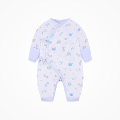 丑丑嬰幼 新生兒純棉綁帶哈衣四季男女寶寶舒適卡通哈衣、爬服、連體衣   CND027X