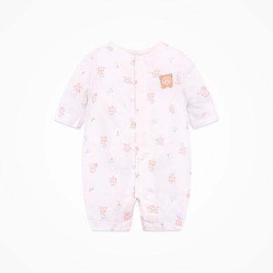 丑丑嬰幼 新生兒前開中袖哈衣男女寶寶純棉哈衣、爬服、連體衣0-1歲  CLD009X