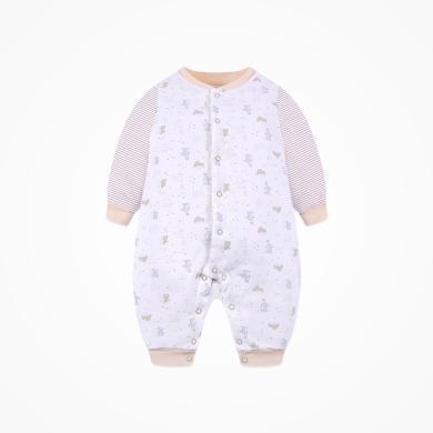 丑丑嬰幼 新款男女寶寶前開棉哈衣冬季新生兒保暖棉哈衣、爬服、連體衣0-1歲半 CMD013X