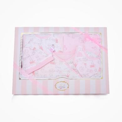 丑丑婴幼 女宝宝满月六件装礼盒婴幼儿睡袋、哈衣、绑带套装+小件用品 精美礼盒 COF009L