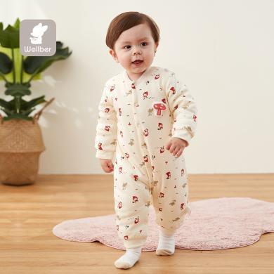 威尔贝鲁男女宝宝秋冬套装长袖纯棉棉毛布前开夹棉哈衣