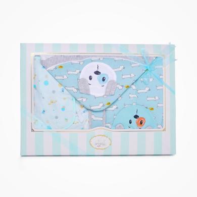丑丑嬰幼 男女寶寶滿月夾棉四件裝禮盒嬰幼兒抱被、哈衣+綁帶套裝 精美禮盒 COF003L