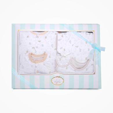 丑丑婴幼 男女宝宝初生夹棉六件装礼盒婴幼儿睡袋、哈衣、套装 精美礼盒 COF006L