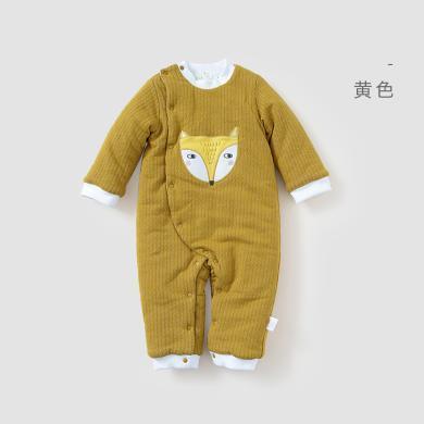 威爾貝魯男女寶寶秋冬套裝長袖純棉魚鱗布偏門襟夾棉哈衣