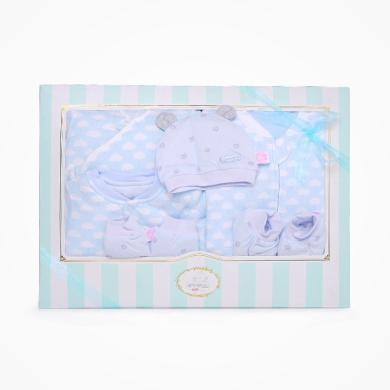 丑丑嬰幼 男女寶寶滿月夾棉七件裝禮盒嬰幼兒分腿睡袋、哈衣、綁帶套裝+小用品 精美禮盒 COF005L