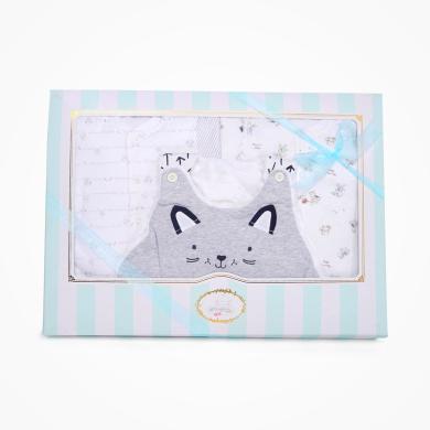 丑丑婴幼 男女宝宝初生四件装成长礼盒婴幼儿背心睡袋、哈衣、套装 精美礼盒 COF007L