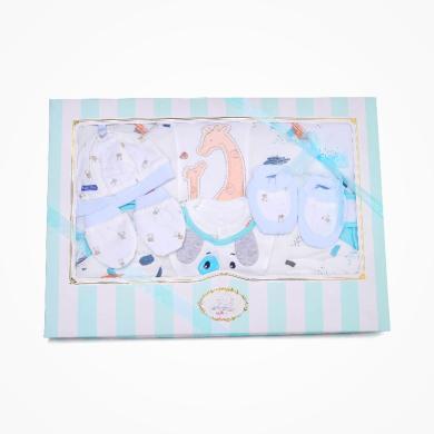 丑丑嬰幼 男女寶寶初生夾棉五件裝禮盒嬰幼兒包被、哈衣+小件用品 精美禮盒 COF008L